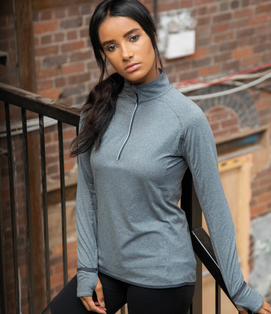 model wearing half zip
